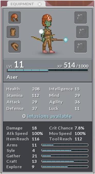 Прокачка персонажа в Crea